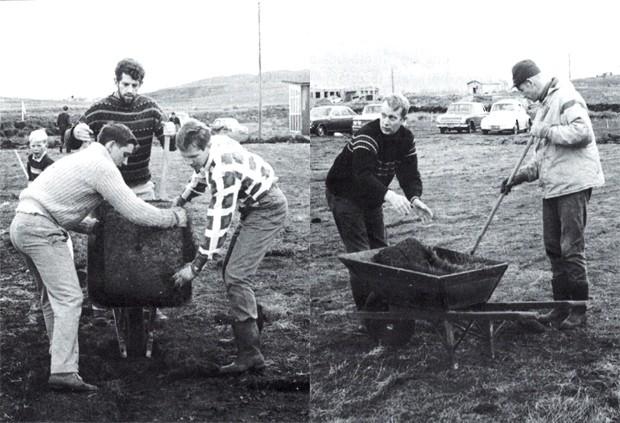 Unnið á KA svæðinu sumarið 1968